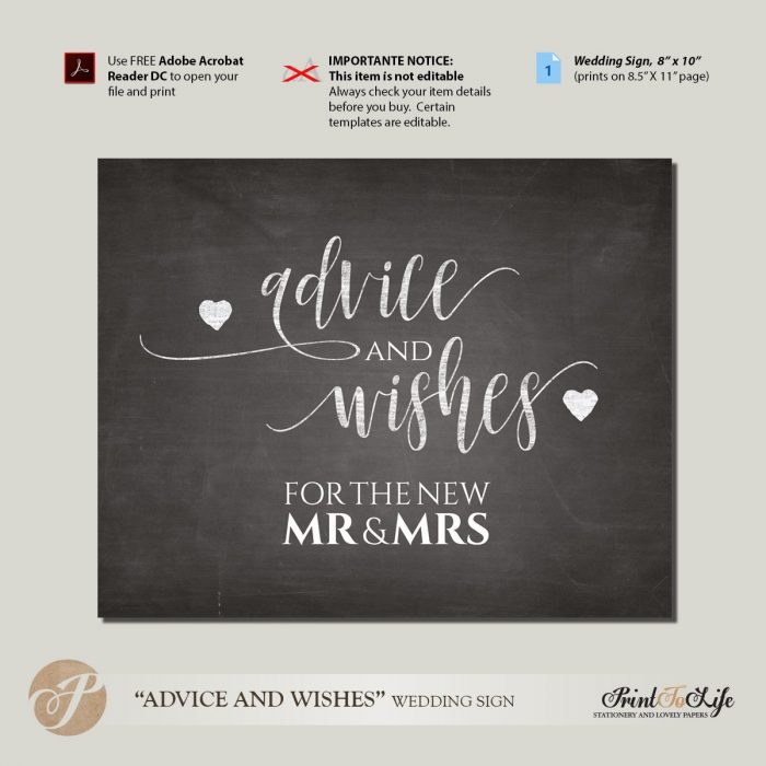 Wedding Advice Sign, Well Wishes Sign, Guest Book Sign, Printable chalkboard Template. 1