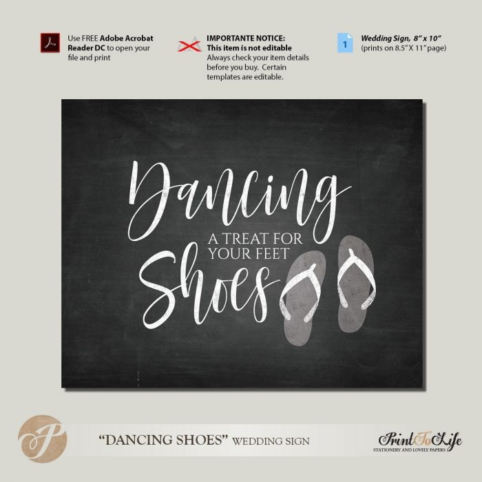 Dancing Shoes Sign, Wedding dancing Sign, Dance Shoes, Printable Chalkboard Sign 1
