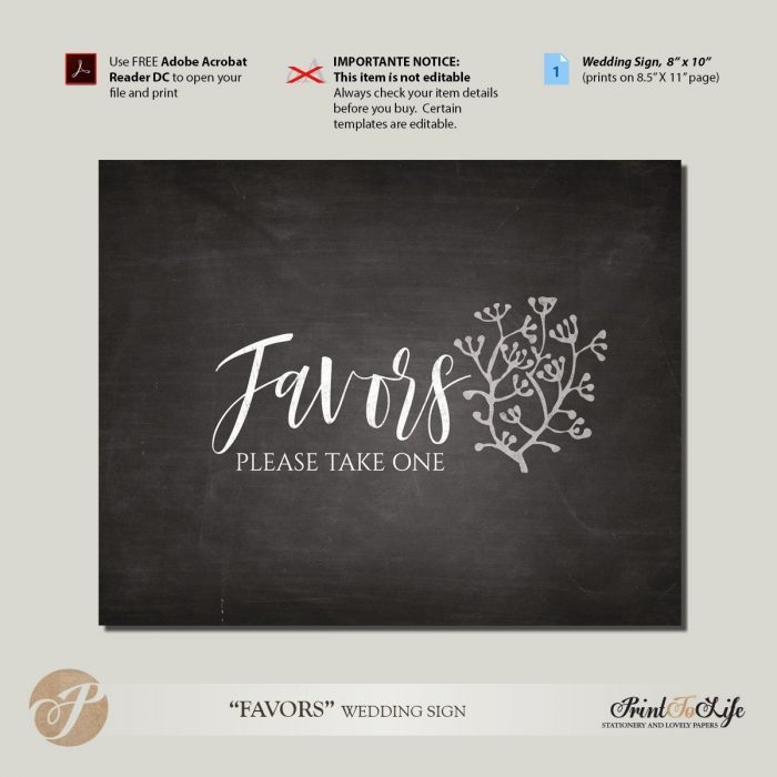 Printable Chalkboard Favors Sign by Printolife