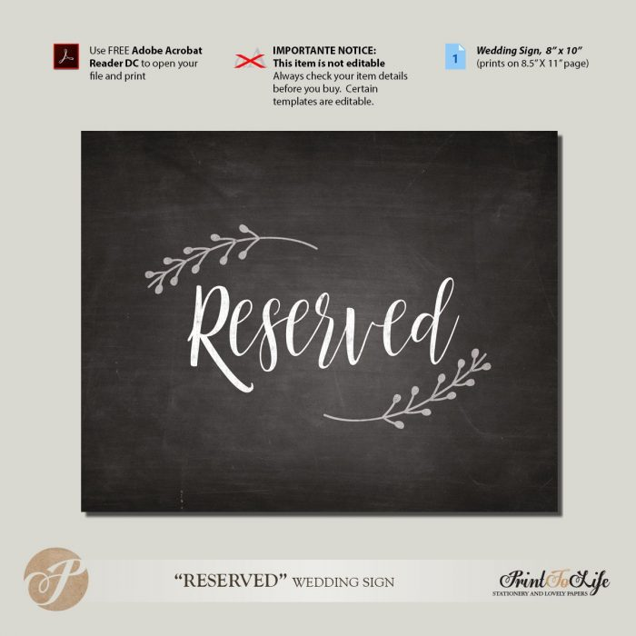 Reserved Place sign, Wedding Reception Sign, Printable Chalkboard Template 1