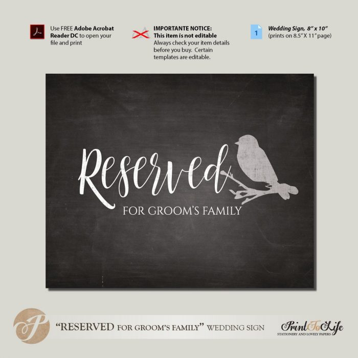 Reserved Place Sign, Reserved for Groom's Family, Printable Chalkboard Template. 1