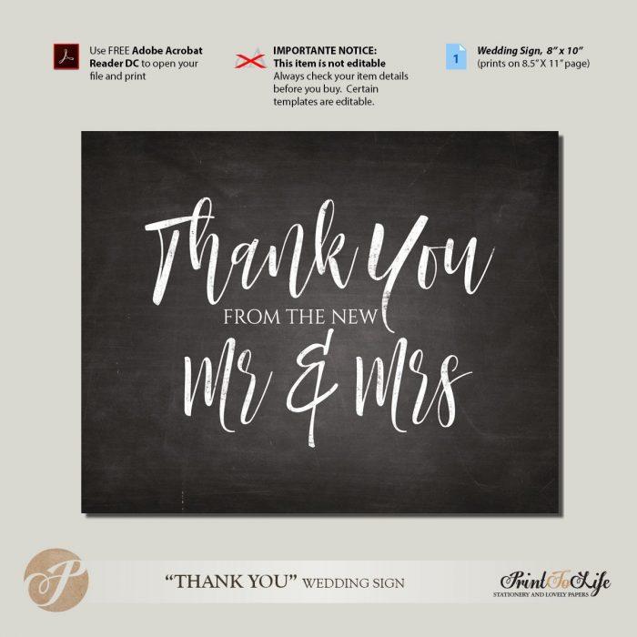 Thank You Sign, Wedding Reception Sign, Wedding Thank You, Printable Chalkboard. 1
