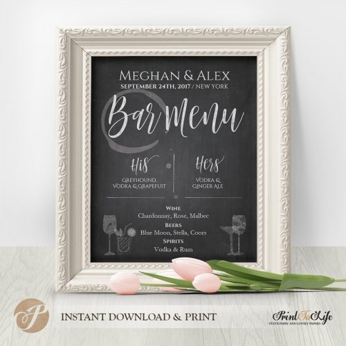 Bar Menu Sign Printable Chalkboard Template by Printolife