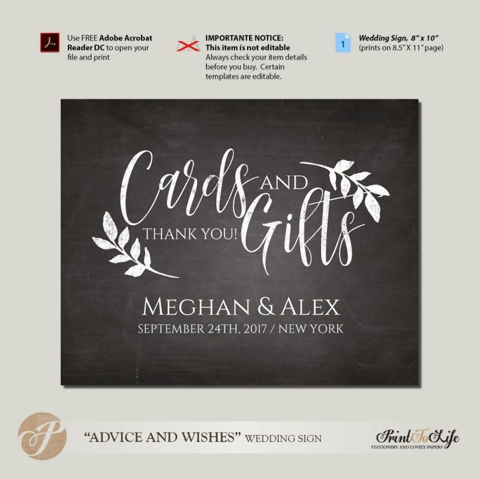 Cards and Gifts Sign Printable Chalkboard by Printolife
