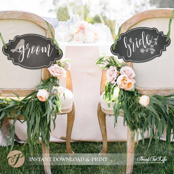 Groom and Bride Chair Signs