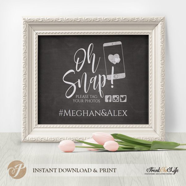 Wedding Hashtag Sign by Printolife
