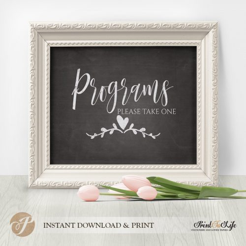 wedding programs sign