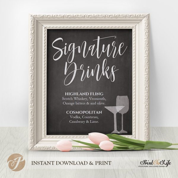 Signature Drinks Sign Printable Chalkboard by Printolife