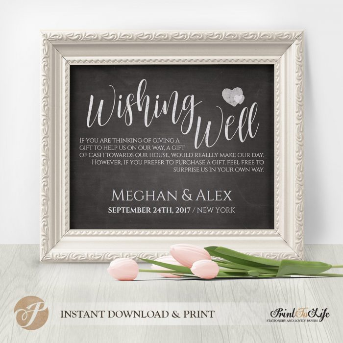 Wishing Well Printable Chalkboard Sign by Printolife