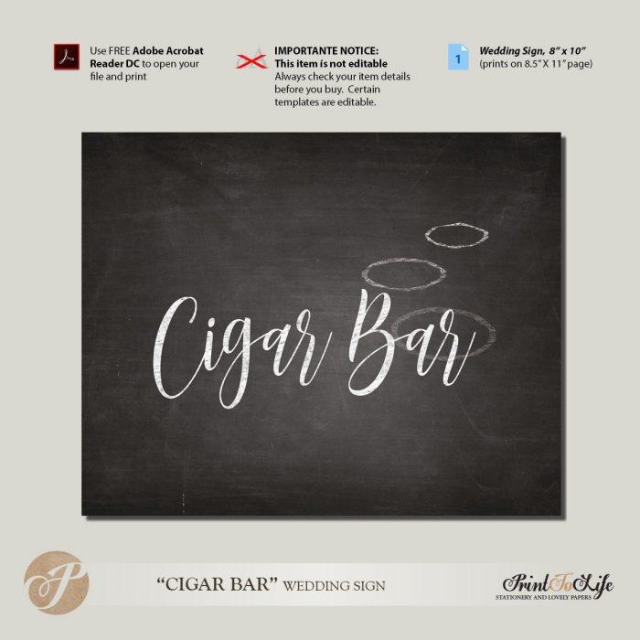 Cigar Bar Sign, Wedding Reception Sign / Cigar Bar / Printable Chalkboard Sign 1