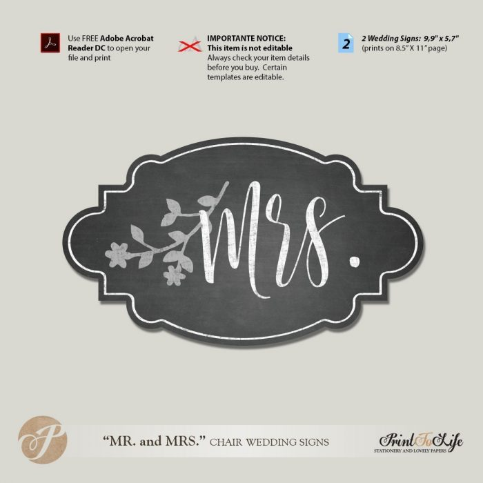 Mr and Mrs Chair Signs, Wedding Chair Signs Template, Printable Chalkboard Style. 2