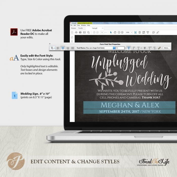 Wedding Unplugged, Unplugged Ceremony Sign, Printable Chalkboard Template 1