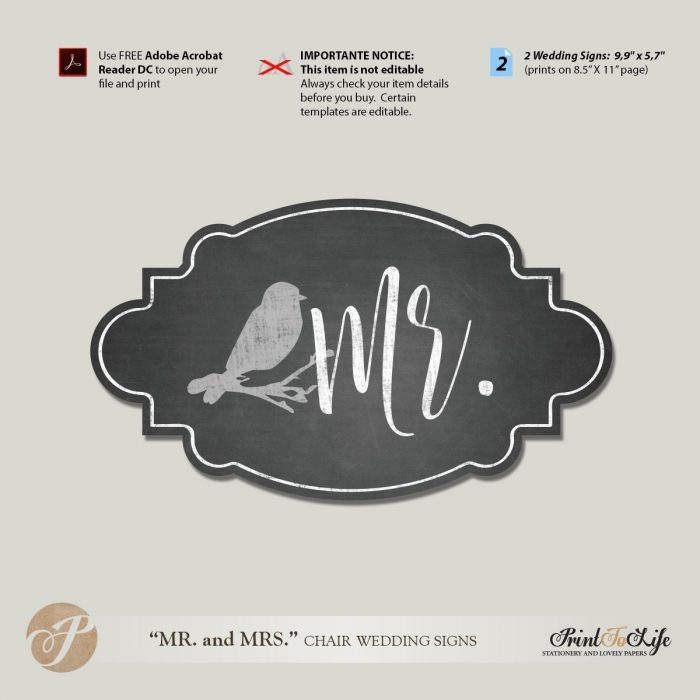 Mr and Mrs Chair Signs, Wedding Chair Signs Template, Printable Chalkboard Style. 1