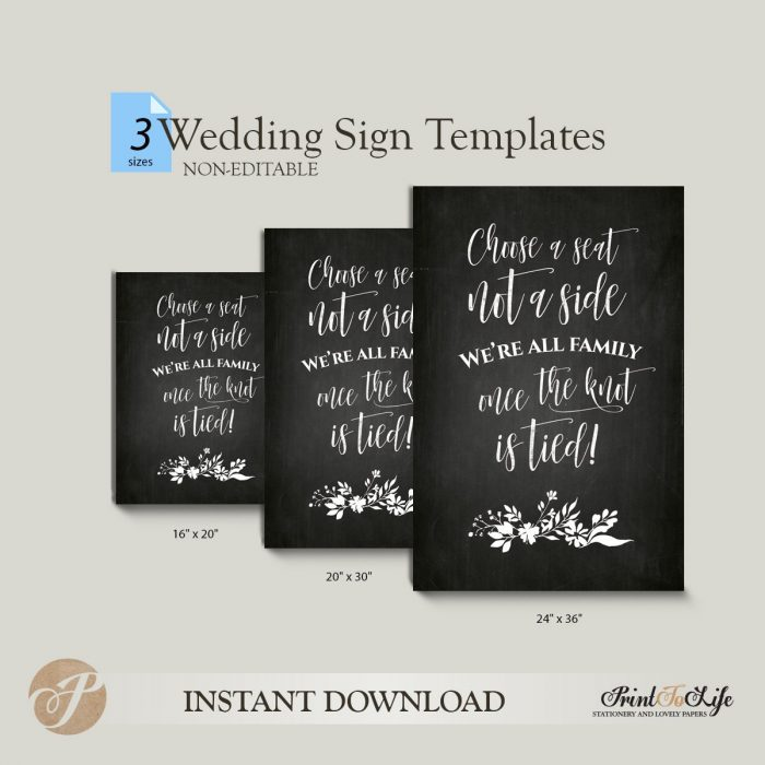 Choose a Seat Not a Side, Wedding Seating Sign, Printable Chalkboard Template 2