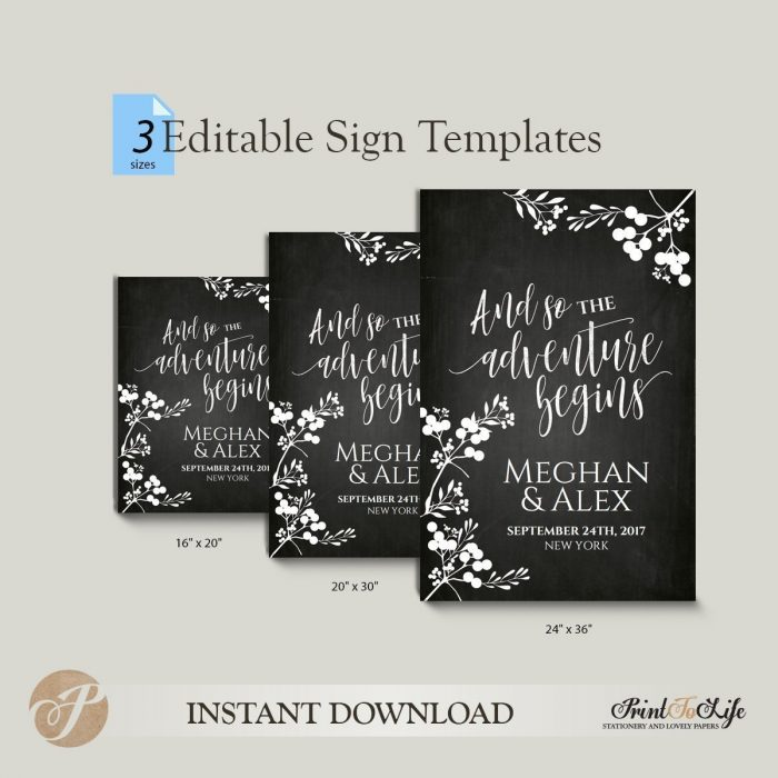 Wedding Welcome Sign, And so the adventure begins, Printable Chalkboard Template. 2