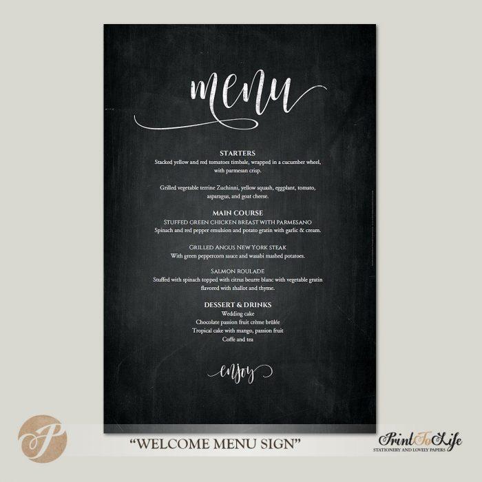 Wedding Menu Sign, Wedding Menu Poster, Printable Chalkboard Template, 3 sizes. 1