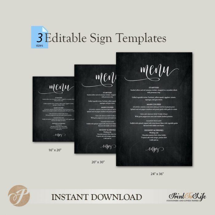 Wedding Menu Sign, Wedding Menu Poster, Printable Chalkboard Template, 3 sizes. 2