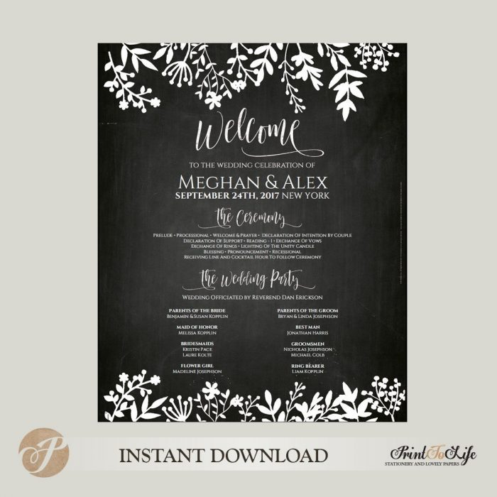 Wedding Program Sign, Welcome Program Sign, Printable Chalkboard  Editable PDF Template. 1