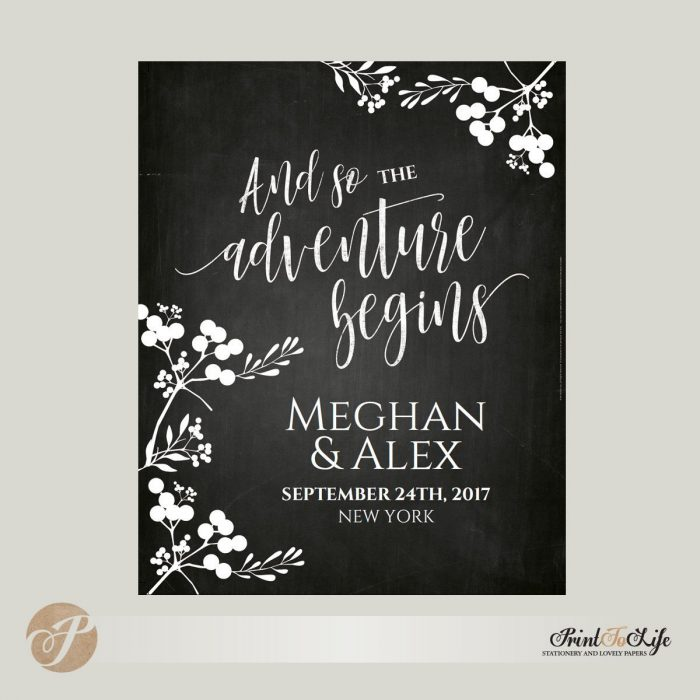 Wedding Welcome Sign, And so the adventure begins, Printable Chalkboard Template. 1