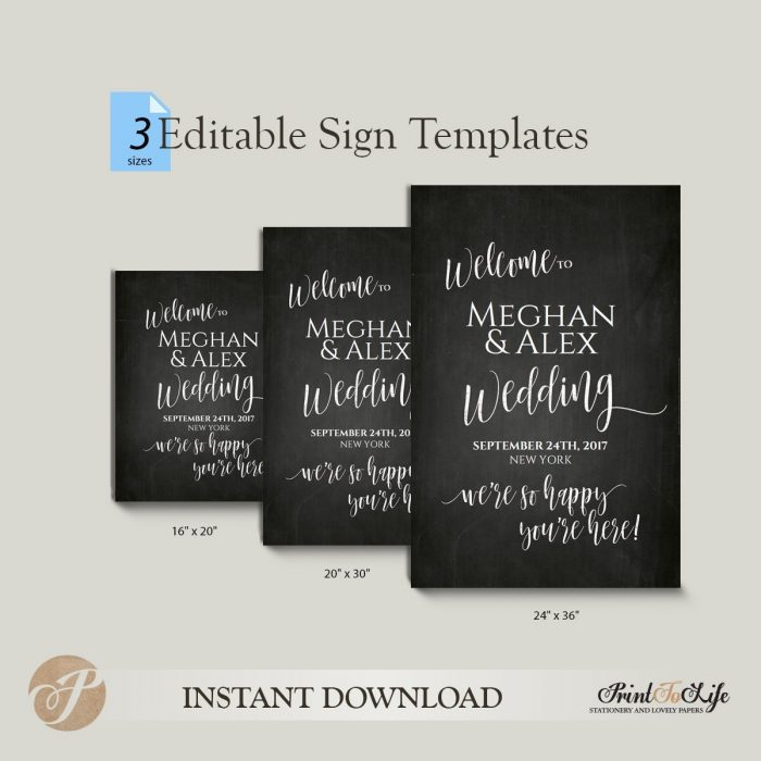 Welcome Wedding Sign, We Are So Happy You Are Here, Printable Chalkboard Template, 3 sizes 2