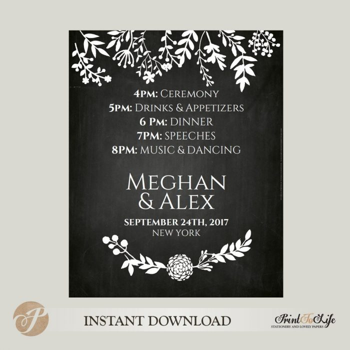 Wedding Schedule Sign, Printable Chalkboard Template 2