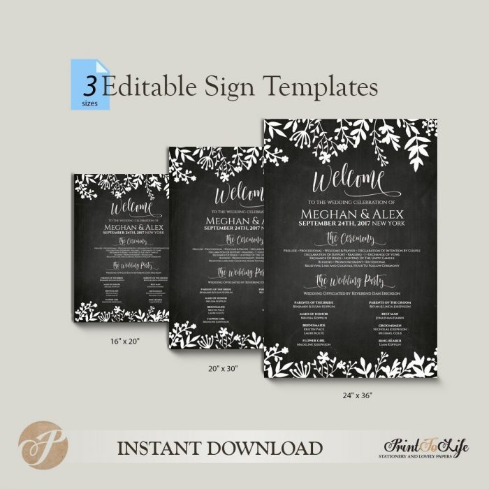 Wedding Program Sign, Welcome Program Sign, Printable Chalkboard  Editable PDF Template. 2