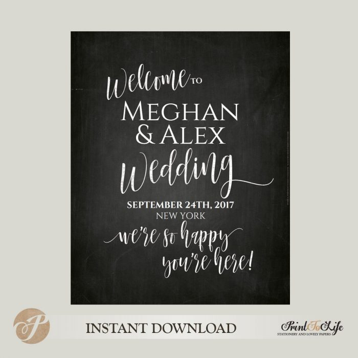 Welcome Wedding Sign, We Are So Happy You Are Here, Printable Chalkboard Template, 3 sizes 1