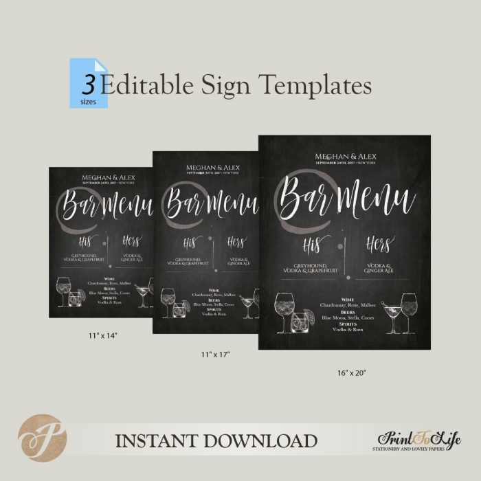 His and Hers Drinks Sign, Wedding Bar Menu, Printable Chalkboard Template, 3 SIZES 1