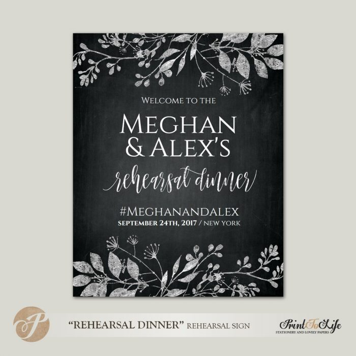 Rehearsal Dinner Sign, Welcome Wedding Rehearsal, Printable Chalkboard Template, 3 sizes 1