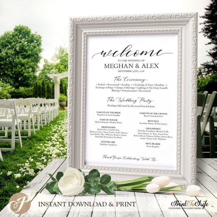 Welcome Wedding Sign and Program , Welcome Ceremony Program in 3 SIZES #MrAndMrs 1