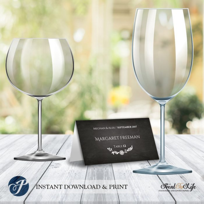 Place Card Template, Wedding Place Escort Cards, Printable Chalkboard Template. 1
