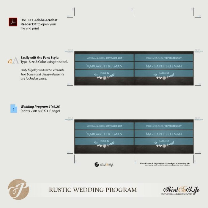 Place Card Template, Wedding Place Escort Cards, Printable Chalkboard Template. 2