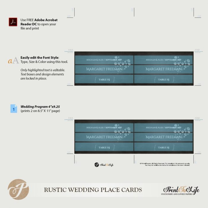 Wedding Escort Cards, Place Card Template, Printable Chalkboard Template. 2