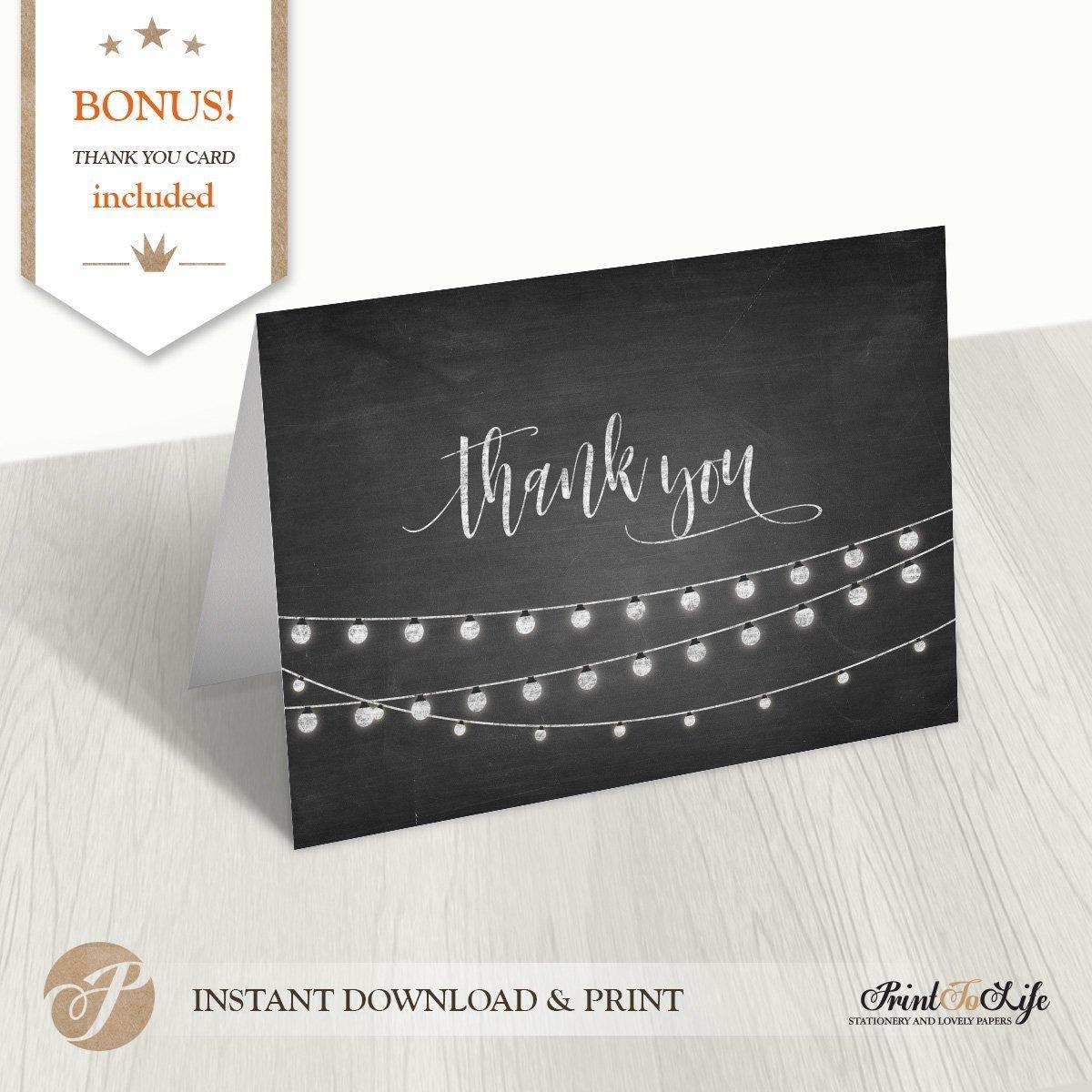 wedding thank you card printable chalkboard