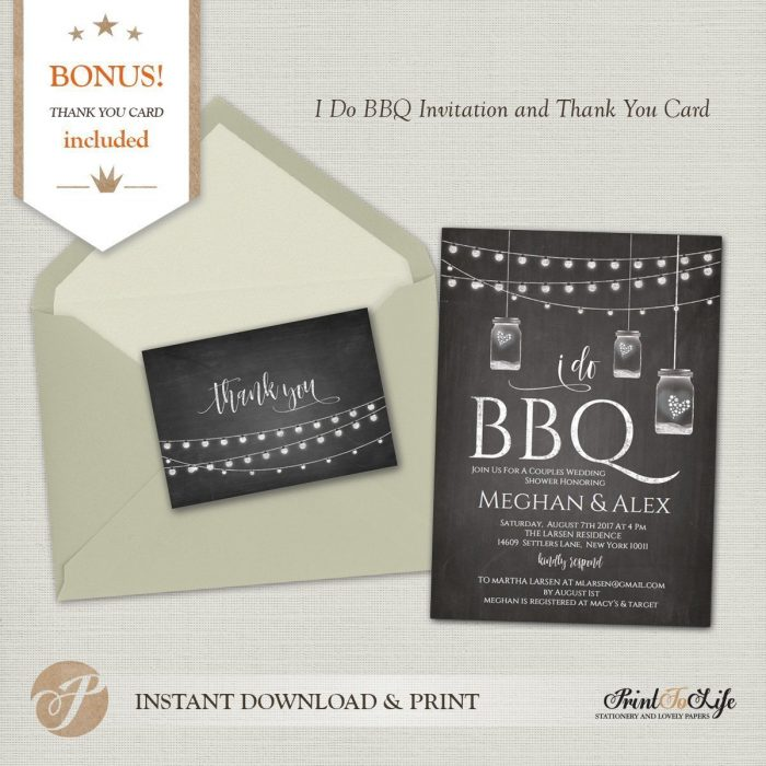 I do BBQ Invitation and Thank You Card, Bridal Shower or Wedding Barbecue Invitation. 1
