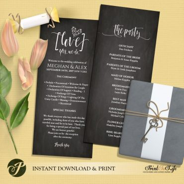Wedding Program Chalkboard Template by Printolife