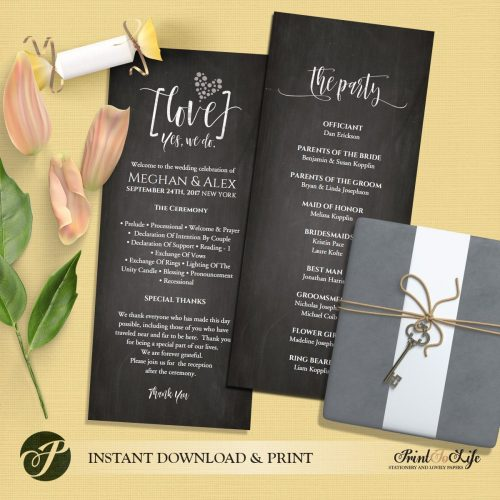 Wedding Program Chalkboard Template by Printolife