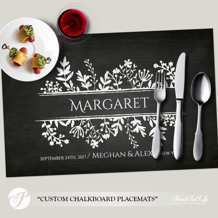 Paper Placemat Template, Wedding Placemats, Dinner Party Table Setting, Printable Chalkboard Template. 1