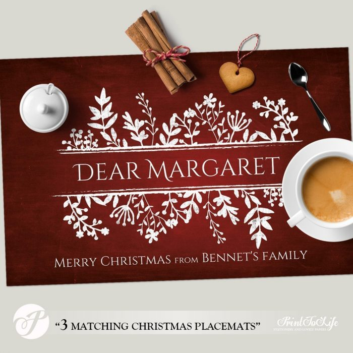 Christmas Paper Placemats, Personalized Paper Placemats Template with Christmas Colors for Table Decoration. 2