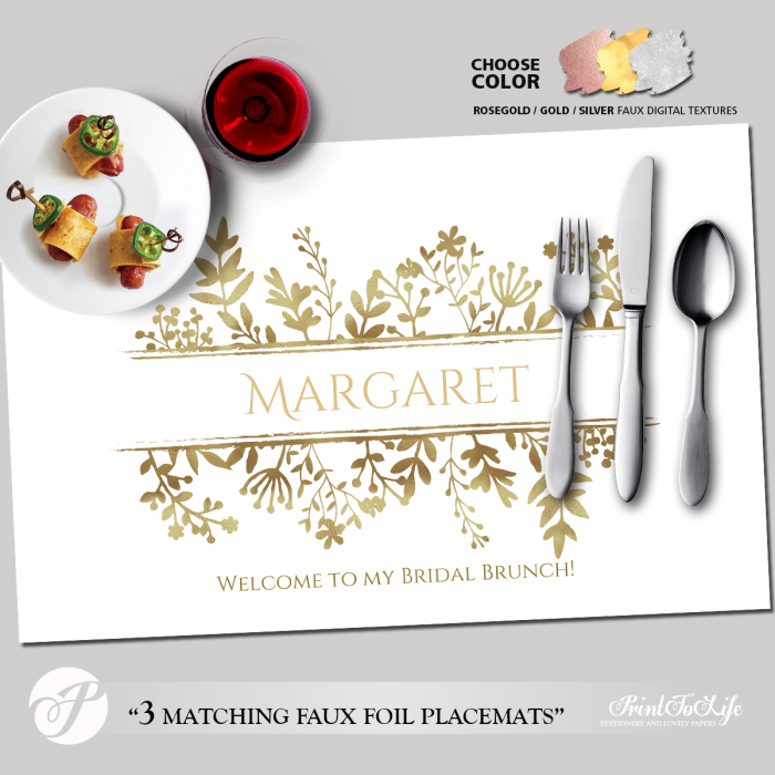 Printable Placemat Template, Personalized for Bridal Showers and Dinners with 3 Luxury Textures. 1