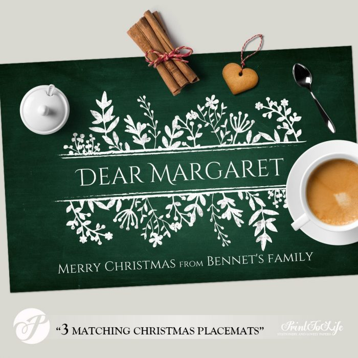 Christmas Paper Placemats, Personalized Paper Placemats Template with Christmas Colors for Table Decoration. 1