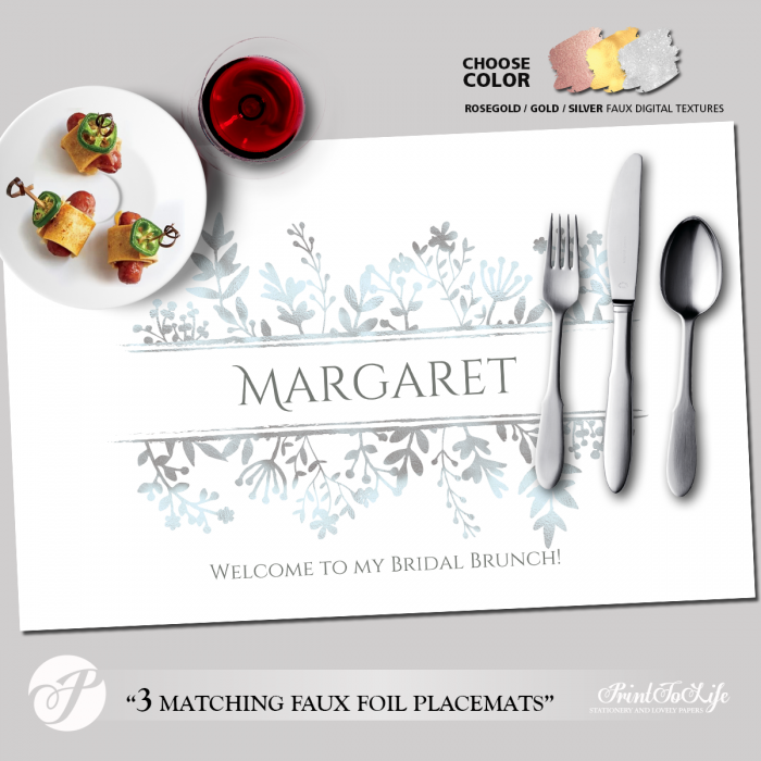 Printable Placemat Template, Personalized for Bridal Showers and Dinners with 3 Luxury Textures. 2