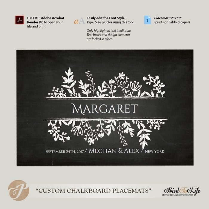 Paper Placemat Template, Wedding Placemats, Dinner Party Table Setting, Printable Chalkboard Template. 2