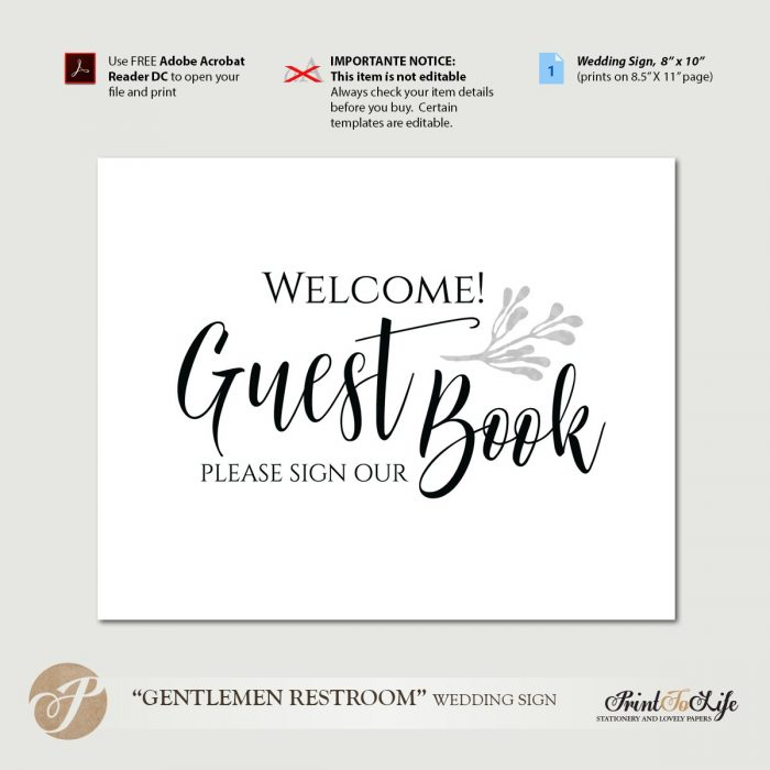 Wedding Guest Book Sign, Guest Book Sign, Please Sign Our Guest Book, Printable Template. 1
