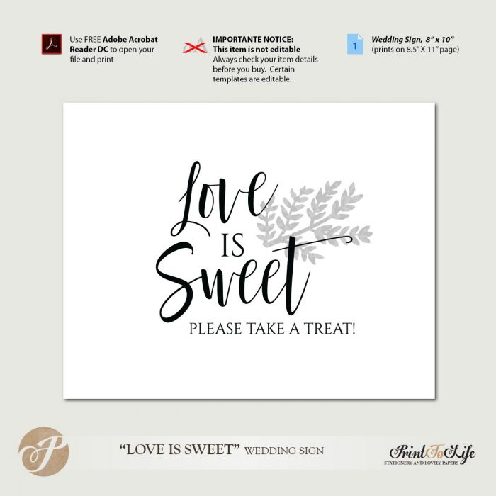 Dessert Table Sign, Love is Sweet Sign, Take a Treat Sign, Printable Template. 1