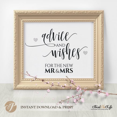 Wedding Wishes Sign by Printolife