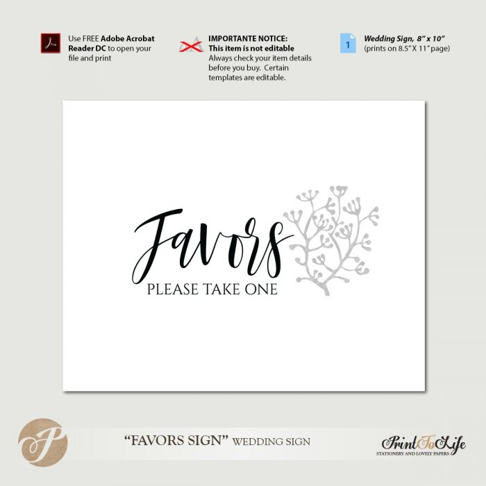 Wedding Favors Sign, Favors Table Sign, Printable PDF Template. 1
