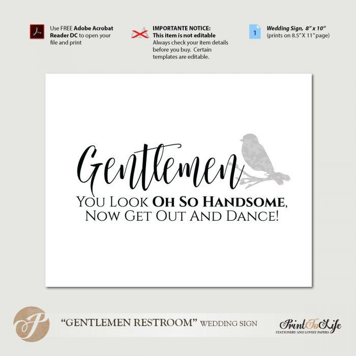 Gentlemen Restroom Sign, You Look Oh So Handsome, Printable PDF Template 1