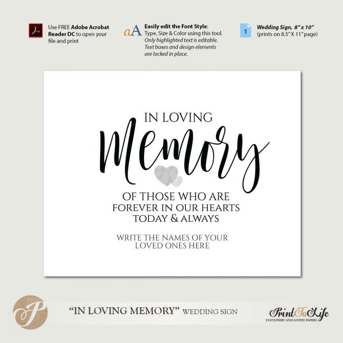 Wedding Memorial Sign, In loving Memory Sign, Printable Template. 1