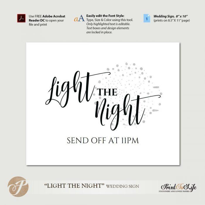 Wedding Sparklers Sign, Light the night, Sparkler Send Off, Printable Template. 1